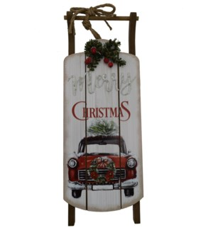 """7"""" X 19""""WOODEN SLED DECORATION"""