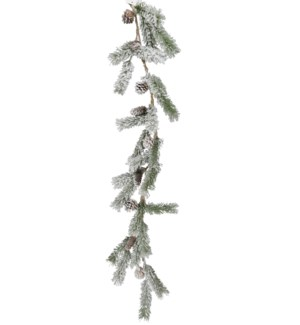 SNOW PINE WITH CONE GARLAND