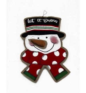 LET IT SNOW BURLAP SNOWMAN WAL