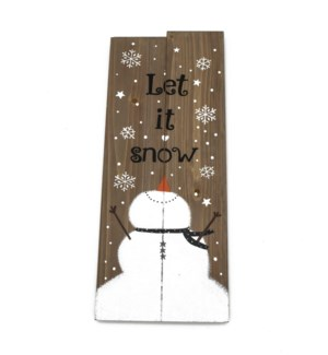 LET IT SNOW WOOD SIGN W/SNOWMA