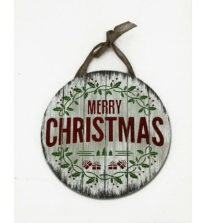 ROUND MERRY CHRISTMAS WOOD SIG