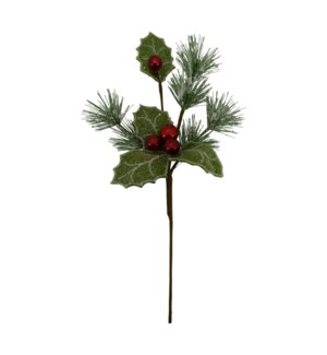 ICED HOLLY/BERRY/PINE PICK