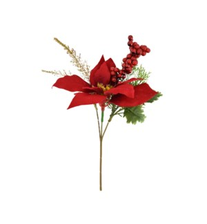 POINSETTIA W RED BERRY PICK