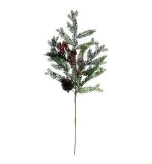 FROSTED HOLLY BERRY PINE SPRAY