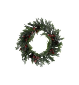 """25""""WREATH MIXED W FROSTED HOLL"""