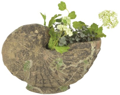 Aged Ceramic planter shell with moss -  (14.2x6.1x10.4 inches)