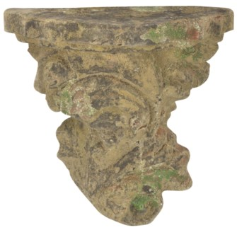 Aged Ceramic wall pedestal with moss - (10.8x5.8x10.5 inches)