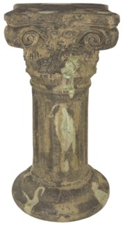 Aged Ceramic pedestal with moss - (11.1x11.1x21.9 inches)