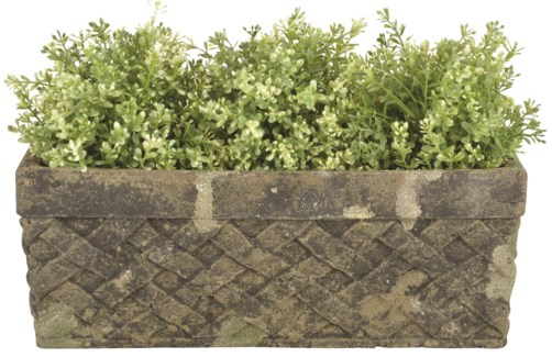 Aged Ceramic trough with moss -  (15.4x6.8x5.9 inches)