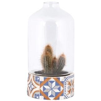 Portuguese tiles pot with cloche, Concrete,glass - 6.1x6.1x30.1