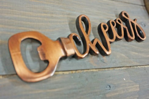 CHEERS Bottle Opener, Cast Iron, Ant. Copper, 6.5