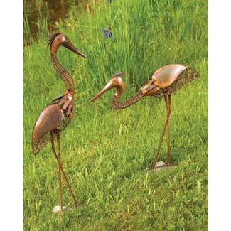 1 Standing and 1 Bowing Woven Wire Heron Pair Standing:23x26,Bowing:17.5x20 inch. Pg.51 - On Sale