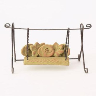 Miniature Green Terra Cotta/Wire Bench Swing 4.5x2x4.5 inch. Pg.62 - On Sale 50 percent off original