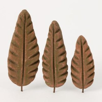 Miniature Green Terra Cotta Leaves, Set of 3 4.25/5.25/6 inch. Pg.59 - On Sale 50 percent off orig