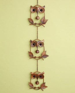 Triple Owl w/Bell on Branch Ornament - 8x41.75 inches