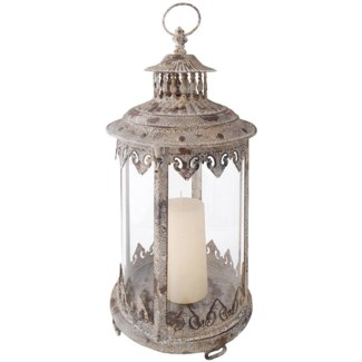 Aged Metal lantern. Aged Metal, glass. 22,1x22,1x43,8cm. oq/4,mc/4 Pg.111FD