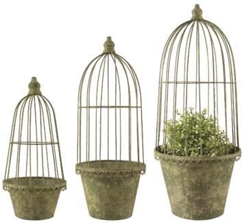 AM Green flower pot/cloche set/3 - (6.3x6.3x8.6 / 7.2x7.2x17.8 / 8.6x8.6x21.4 inches)