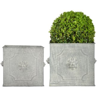 AM lion flower pots square set/2 - 9.5x9.5x8, 11.75x11.75x9.75 inches