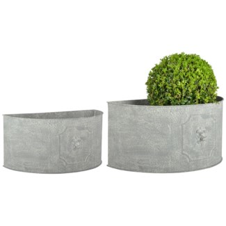 AM lion flower pots half round set2 - 16.75x8.75x8, 19.5x10.5x9.5 inches