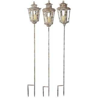 Aged Metal lantern on stick ass. Aged Metal, glass. 15,2x15,2x127,0cm. oq/6,mc/6 Pg.111FD