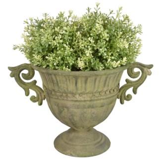 Aged Metal Green urn round S. Aged Metal. 35,6x24,0x22,6cm. oq/12,mc/12 Pg.112