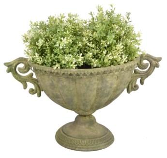 Aged Metal Green urn oval S. Aged Metal. 40,0x23,4x24,0cm. oq/12,mc/12