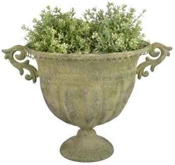 Aged Metal Green urn oval L. Aged Metal. 46,3x28,0x31,5cm. oq/6,mc/6 Pg.112