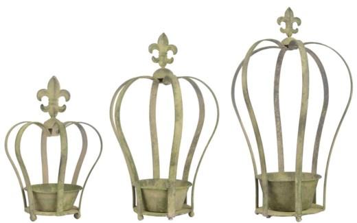 Aged Metal Green crown planter set3. Aged Metal. 15,6x17,3x24,7/21,0x23,3x37,3/30,4x27,1x49,5cm.