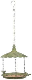Aged Metal Green hanging birdfeeder. Aged Metal. 25,5x25,5x34,0cm. oq/6,mc/12