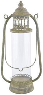 Aged Metal Green lantern L. Aged Metal, glass. 24,5x14,8x51,5cm. oq/4,mc/4 Pg.113