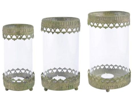 Aged Metal Green windlight set of 3. Aged Metal, glass. 9,0x9,0x17,6/11,0x11,0x19,5/13,0x13,0x21,7c
