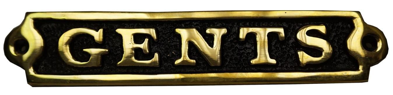 Gents Sign. Brass. Shiney and Black Antique Finish. 8x1.5  . On sale 50 percent off