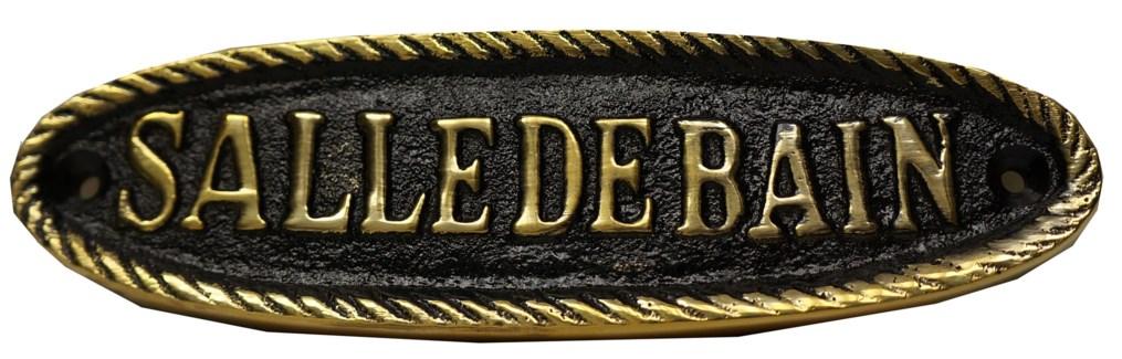 Salle De Bain Sign. Brass. Shiny Black Antique Finish 6.25x1.75  LAST CHANCE!!**