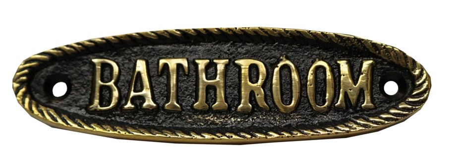 Bathroom Sign. Brass. Shiney and Black Antique Finish 5.5x1.75