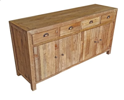 Recyled Old Elmwood 4drs 4dws Buffet,  dims 63.3x18x31.5
