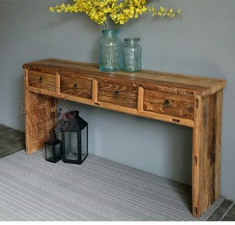 Pierre 4 Drw Console Table, Recycled Elm Wood, 63x17.7x33.5 Inches