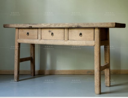 3 Drw Console Table, Recycled Elm Wood, 63x16.5x33 Inches
