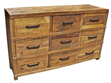 Chest of 9 Drawers/ Buffet Console Table, Tibetan Elmwood, 59Lx18Dx35.5H, On Sale 25% Off