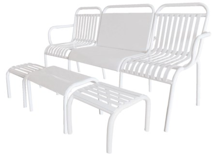 Garden set 4 pcs metal white. Metal. 156,0x54,5x79,0/48,8x37,0x32,7/32,3x36,0x29,0cm. oq/1,mc/1 Pg.