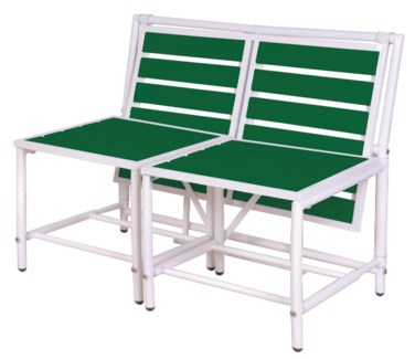 Magical bench green. Metal, polywood (PS). 156,0x54,5x79,0/156,0x87,0x79,0cm. oq/1,mc/1 Pg.84