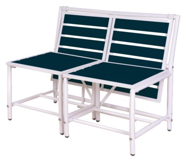 Magical bench blue. Metal, polywood (PS). 156,0x54,5x79,0/156,0x87,0x79,0cm. oq/1,mc/1 Pg.84