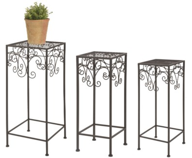 Plants tables set of 3 -  (8.5x8.5x19.7 / 10.3x10.3x23.8 / 12.4x12.4x27.6 inches)