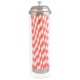 Straw dispenser with paper straws. Glass, paper, metal. 7,0x7,0x24,0cm. oq/12,mc/12 Pg.87