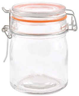 Flip top jar set 8 pcs M. Glass, metal, rubber. 28,3x17,8x10,0cm. oq/8,mc/8 Pg.89