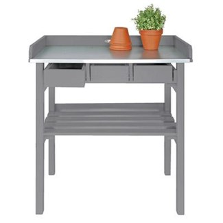 Garden work bench grey. Pinewood, zinc. 78,0x38,0x82,5cm. oq/2,mc/1 Pg.125