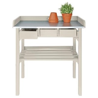 Garden work bench white. Pinewood, zinc. 78,0x38,0x82,5cm. oq/2,mc/1 Pg.127