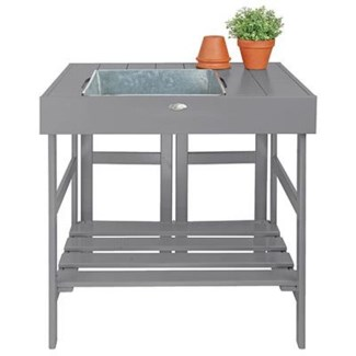 Potting table grey. Pinewood, zinc. 78,5x58,0x81,8cm. oq/2,mc/1 Pg.125