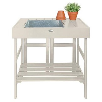 Potting table white. Pinewood, zinc. 78,5x58,0x81,8cm. oq/2,mc/1 Pg.127
