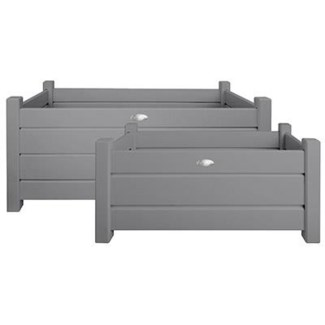 Rect. planters set of 2 grey S/L. Pinewood. 59,1x30,3x30,1cm/79,0x40,0x40,2cm. oq/2,mc/1 Pg.125