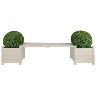 Planters with bridge bench white. Pinewood. 188,0x40,0x40,2cm. oq/2,mc/1
